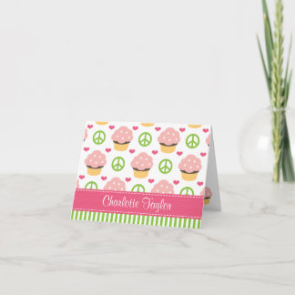 Personalized Peace Love Cupcake Note Cards