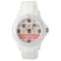 Personalized Peace Love Dogs Pawprint Watch
