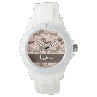 Personalized Peace Love Doxie Wrist Watches