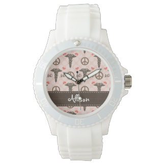 Personalized Peace Love MD Caduceus Wrist Watch