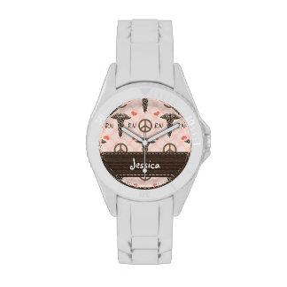 Personalized Peace Love Nursing Caduceus Watch