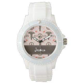 Personalized Peace Love Nursing Caduceus Wristwatch