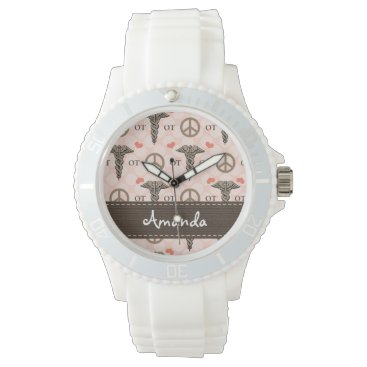 Valentines Themed Personalized Peace Love Occupational Therapy Watch