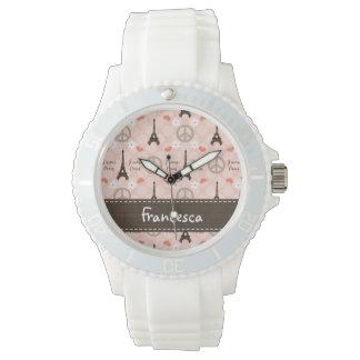 Personalized Peace Love Paris Wrist Watches