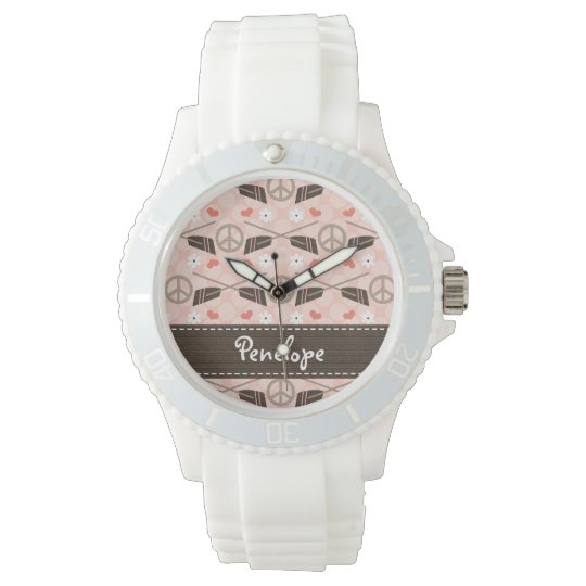 Personalized Peace Love Row Wristwatch