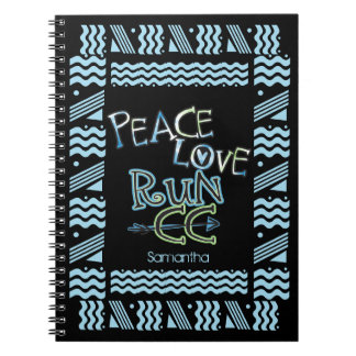Personalized PEACE LOVE RUN Cross Country Running Spiral Notebook