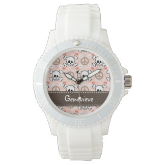 Personalized Peace Love Skull and Bones Wrist Watches