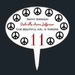 """Personalized Peace Sign Birthday Party Cake Topper<br><div class=""""desc"""">This cute Cake topper in framed in peace signs. Add a name,  change the age,  add the words of your choice,  or order asis.</div>"""