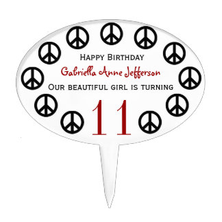 Personalized Peace Sign Birthday Party Cake Topper