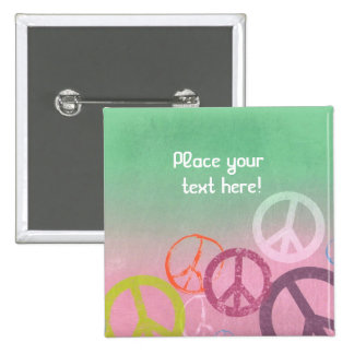 Personalized Peace Sign Pastel Pins Buttons