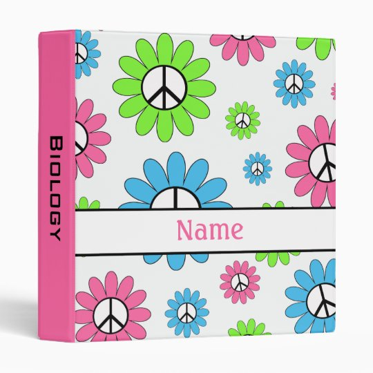 Personalized Peace Sign Pink School Binder