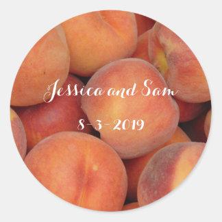 Personalized Peach Classic Round Sticker