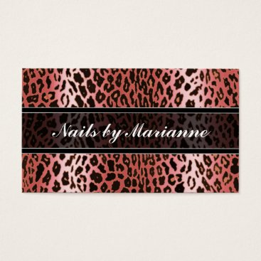 Professional Business Personalized Peach Leopard Animal Print Business Card