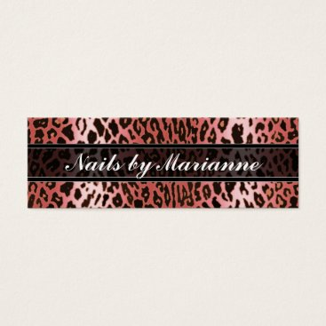 Professional Business Personalized Peach Leopard Animal Print Mini Business Card