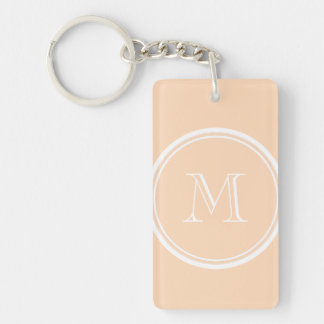 Personalized Peach Puff High End Colored Double-Sided Rectangular Acrylic Keychain