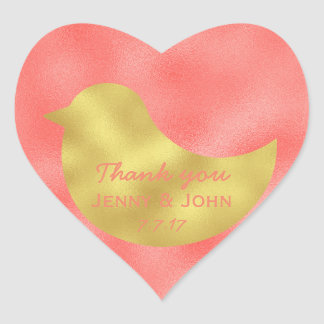 Personalized Peach Stripes Gold Wedding Thank you Heart Sticker
