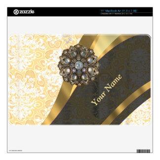 "Personalized peach vintage damask pattern 11"" MacBook air skins"