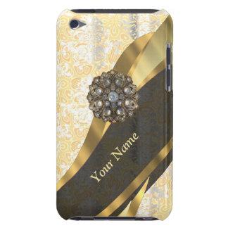 Personalized peach vintage damask pattern iPod Case-Mate case
