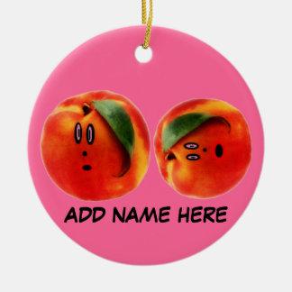 Personalized Peaches Cartoon Ceramic Ornament