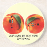 Personalized Peaches Cartoon Coasters