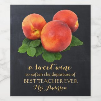 Personalized Peaches Sweet Teacher Wine Label