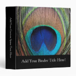 Personalized Peacock Feather 3 Ring Binders