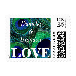 Personalized Peacock Feather LOVE Postage Stamps