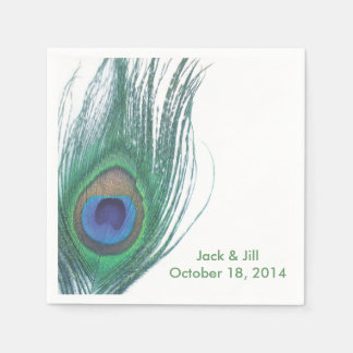 Personalized Peacock Feather Napkin Paper Napkin