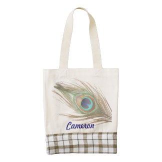 Personalized Peacock Feather Zazzle HEART Tote Bag