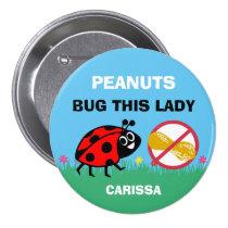 Personalized Peanut Allergy Alert Ladybug Button