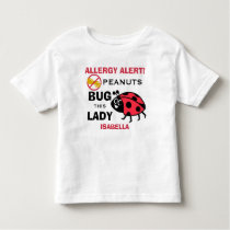 Personalized Peanut Allergy Alert Ladybug Girls Toddler T-shirt