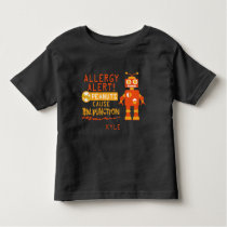 Personalized Peanut Allergy Alert Orange Robot Toddler T-shirt