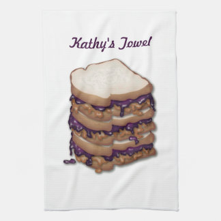 Personalized Peanut Butter and Jelly Sandwiches Kitchen Towels
