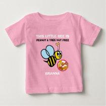 Personalized Peanut Tree Nut Free Bee Kids Cute Baby T-Shirt
