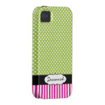 Personalized Peapod Lime Polka Dot Pink Stripe Vibe iPhone 4 Case