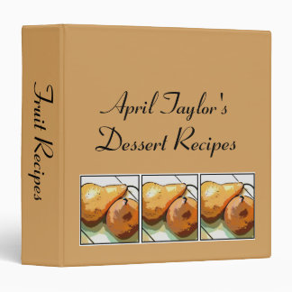 Personalized Pear Illustration Dessert Recipe 3 Ring Binder