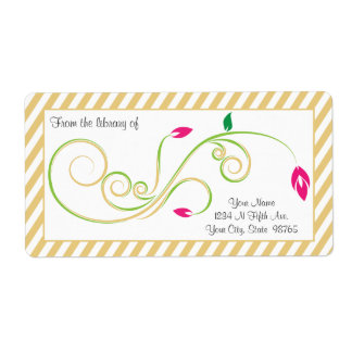 Personalized Pear Sand Swirl Bookplate Label