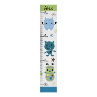 Personalized Peek A Boo Monsters Growth Chart