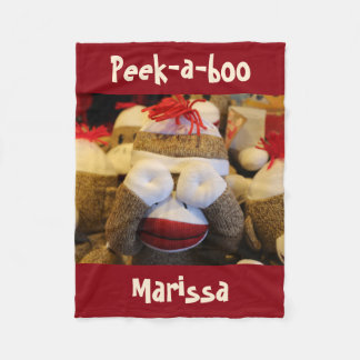Personalized Peek-a-boo Sock Monkey Fleece Blanket