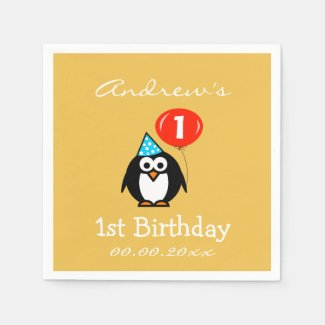 Personalized penguin 1st Birthday party napkins