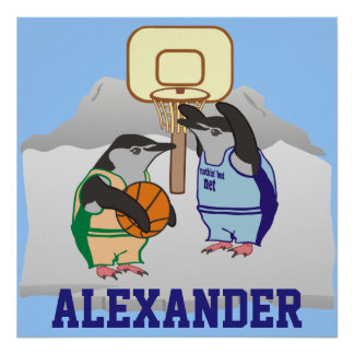 Personalized Penguin Basketball Poster