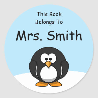 Personalized Penguin Book Label Classic Round Sticker