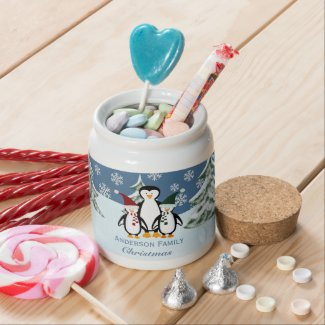 Personalized Penguin Family Candy Jar