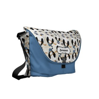 Personalized Penguin Hockey Messenger Bag rickshawmessengerbag