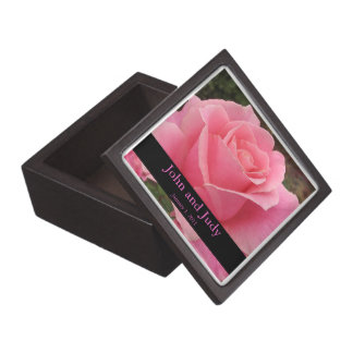 Personalized Perfectly Pink Rose Wedding Gift Box Premium Jewelry Boxes
