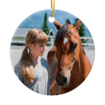 Personalized Pet Best Horse Ever Name and Photo Ceramic Ornament