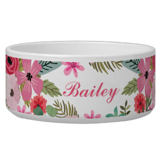 Personalized pet bowl Floral girly Add text