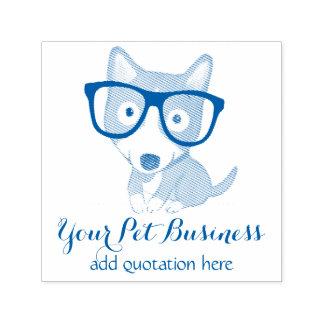 personalized pet business nerdy corgi self-inking stamp