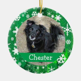 Personalized Pet Festive Pattern Snowflakes Photo Ceramic Ornament