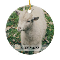 Personalized Pet Goat Photo Name Christmas Tree Ceramic Ornament